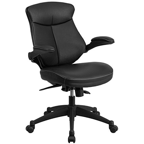 Flash Furniture Mid-Back Black Leather Executive Swivel Ergonomic Office Chair with Back Angle Adjustment and Flip-Up Arms