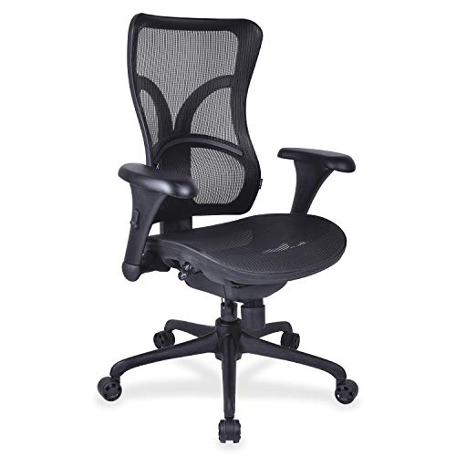 "Lorell 20980 Full Mesh High Back Adjustable Chair, 22.8"" x 28.6"" x 21.1"", Black"