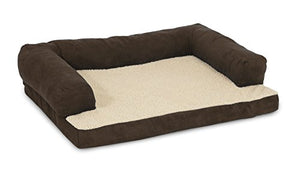 Aspen Pet Bolster Ortho Pet Bed, 35 x 25, Assorted Blue/Brown