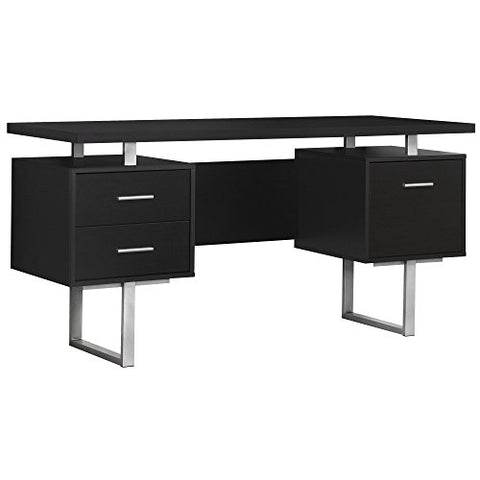 Monarch Specialties Cappuccino Hollow-Core/Silver Metal Office Desk, 60-Inch
