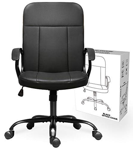 Office Chair, Mid Back Leather Desk Chair, Computer Swivel Office Task Chair, Ergonomic Executive Chair with Armrests