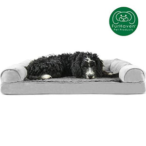 Furhaven Pet Dog Bed Orthopedic Ultra Plush Faux Fur & Suede Traditional Sofa-Style Living Room Couch Pet Bed w/ Removable Cover for Dogs & Cats, Gray, Large