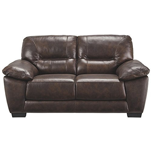 Ashley Furniture Signature Design - Mellen Contemporary Leather Loveseat - Walnut Brown