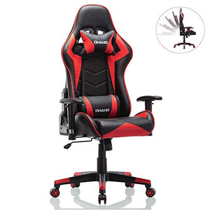 OHAHO Gaming Chair Racing Style Office Chair Adjustable Lumbar Cushion Swivel Rocker Recliner PU Leather High Back Ergonomic Computer Desk Chair with Retractable Armrest (Red)
