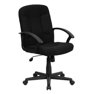 Flash Furniture Mid-Back Black Fabric Executive Swivel Chair with Nylon Arms - GO-ST-6-BK-GG