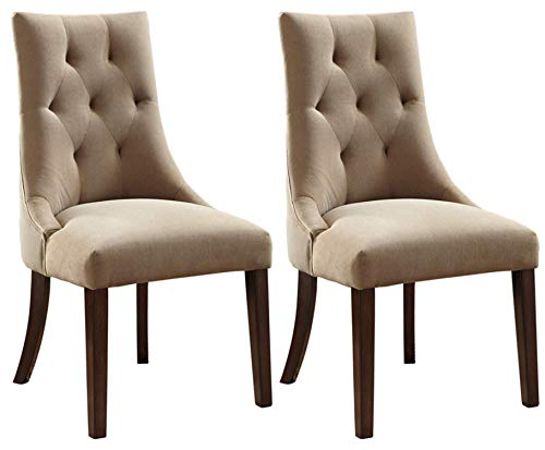 Ashley Furniture Signature Design - Mestler Dining Side Chair - Button-Tufted Seatback - Set of 2 - Light Brown