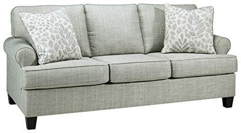 Signature Design by Ashley - Kilarney Linen Sofa w/ 2 Pillows, Mist Green