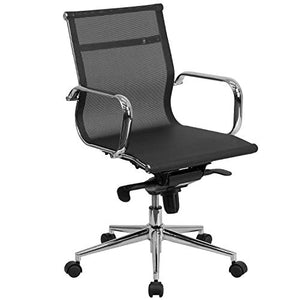 Flash Furniture Mid-Back Transparent Black Mesh Executive Swivel Office Chair with Synchro-Tilt Mechanism and Arms