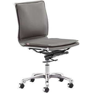Zuo Lider Plus Armless Office Chair Gray Gray