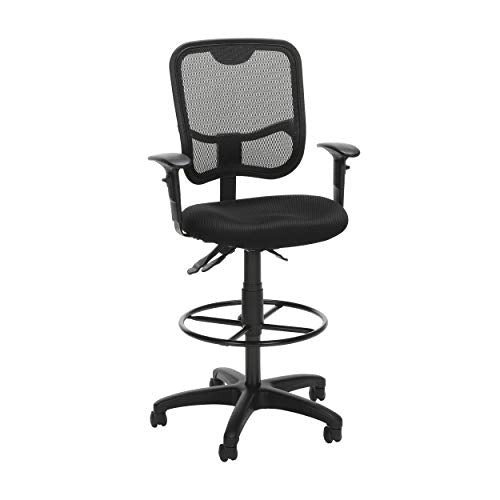 OFM Core Collection Comfort Series Ergonomic Mesh Swivel Task Chair with Arms and Drafting Kit, Mid Back, in Black (130-AA3-DK-A05)