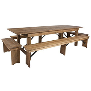 Flash Furniture HERCULES Series 9' x 40'' Antique Rustic Folding Farm Table and Four Bench Set