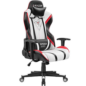 Homall Gaming Racing Office High Back PU Leather Computer Desk Executive and Ergonomic Swivel Chair with Headrest (Red), Black