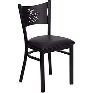 Offex Black Coffee Back Metal Restaurant Chair with Black Vinyl Seat