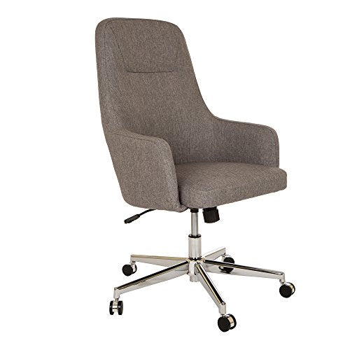 Glitzhome Home High-Back Office Chair Fabric Adjustable Desk Chair with Arms, Gray