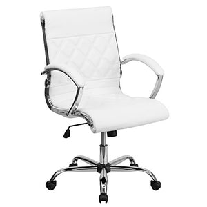 Flash Furniture Mid-Back Designer White Leather Executive Swivel Office Chair with Chrome Base and Arms
