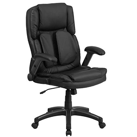 Flash Furniture Extreme Comfort High Back Black Leather Executive Swivel Ergonomic Office Chair with Flip-Up Arms