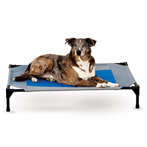 "K&H Pet Products Coolin' Pet Cot Elevated Pet Bed Large Gray/Blue 30"" x 42"" x 7"""