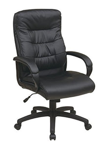 Office Star Padded Faux Leather Seat and High Back Executive Chair with Padded Arms and Heavy Duty Nylon Base, Black