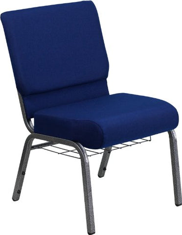 Offex 21 Extra Wide Navy Blue Fabric Church Chair with 4 Thick Seat and Communion Cup Book Rack - Silver Vein Frame