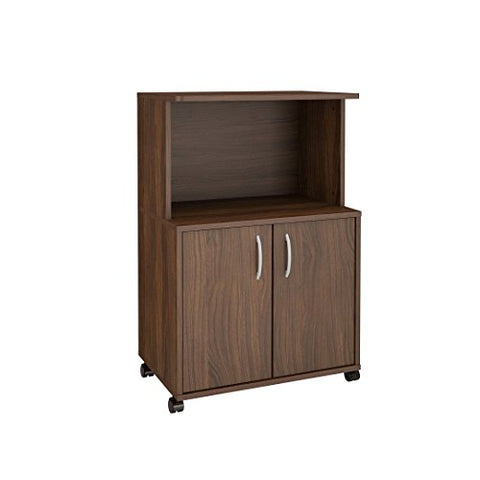 Nexera 299 2-Door Mobile Microwave Cart, Walnut