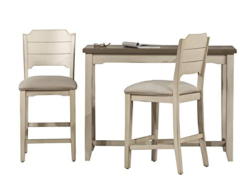 Hillsdale Furniture Hillsdale Clarion Counter Height Wood Slat Back Stools 3 Piece Console Set, Distressed Gray/Sea White