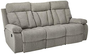 Signature Design by Ashley Mitchiner Reclining Sofa withDrop Down Table Fog