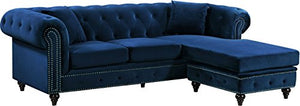 Meridian Furniture Sabrina REVERSIBLE 2 Piece Button Tufted Velvet Sectional with Scroll Arms, Nailhead Trim, and Custom Wood Legs, Navy