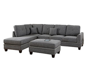Poundex PDEX-F6511 2-Pcs Sectional Sofa, Grey