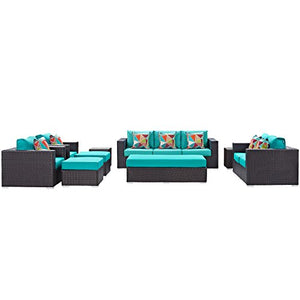 Convene 9 Piece Outdoor Patio Sofa Set - Espresso Turquoise