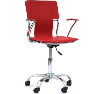 Modway Studio Faux Leather Swivel Task Office Chair in Red
