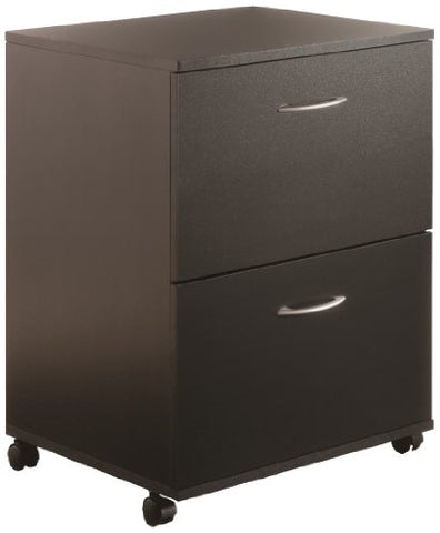 Essentials 2-Drawer Mobile Filing Cabinet from Nexera, Black
