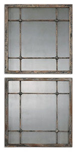 Intelligent Design Smoked Antiqued Glass Mirror Squares Cottage | Tiled Grouping Column