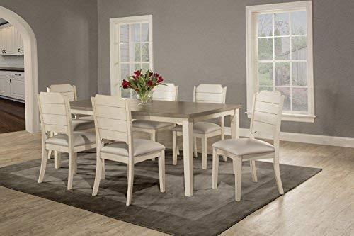 Hillsdale Furniture 7 Piece Dining Set with Clarion Rectangle Side Chairs, Sea White