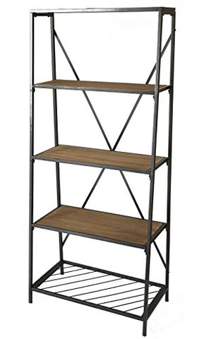 Uniquewise-4-Shelf-Wooden-Bookcase,-Wood-and-Metal-Bookshelf