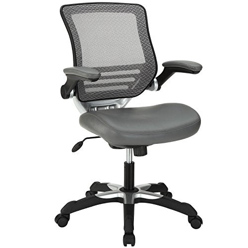 Modway Edge Mesh Back and White Vinyl Seat Office Chair With Flip-Up Arms - Computer Desks in Gray