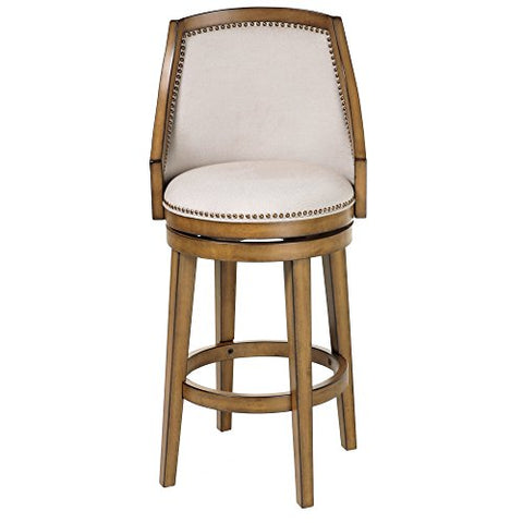Charleston Wood Counter Stool with Putty Upholstered Nail head Trim Swivel-Seat and Acorn Frame Finish, 2-Pack, 26-Inch