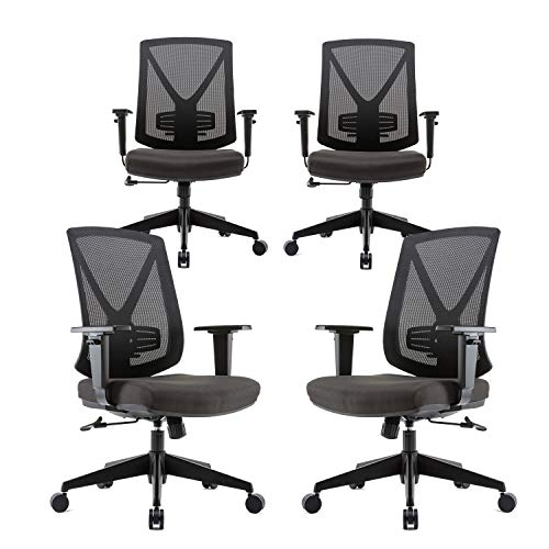 CLATINA Ergonomic High Mesh Swivel Desk Chair with Adjustable Height Arm Rest Lumbar Support and Upholstered Back for Home Office BIFMA Certified 4 Pack