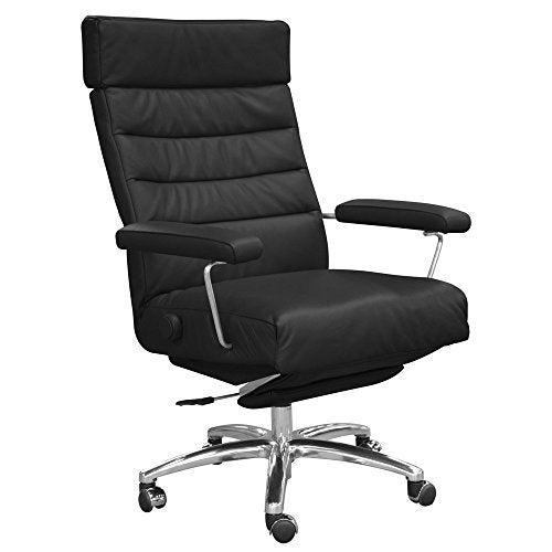 Adele Executive Recliner Office Chair Black Leather by Lafer Recliner Chairs