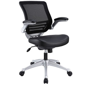 LexMod Edge Office Chair with Mesh Back and Black Leather Seat