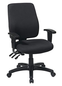 Office Star High Back Dual Function Ergonomic Chair with Ratchet Back Height Adjustment with 2-way Adjustable Arms, Black