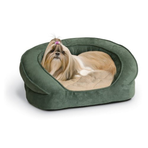 K&H Pet Products Deluxe Ortho Bolster Sleeper Pet Bed Medium Green Paw Print 30""