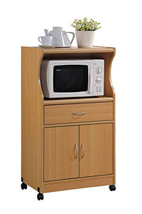 Microwave Cart with Storage Doors Drawer Kitchen Rolling Portable Cabinet Wood Unit (Beech)