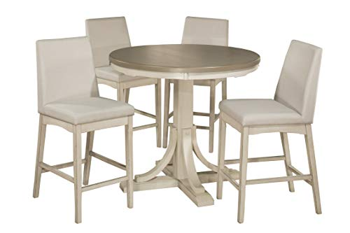 Hillsdale Furniture Hillsdale Clarion Counter Height Parson Stools 5 Piece Dining Set, Distressed Gray/Sea White