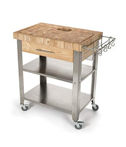 Chris & Chris JET018 Rolling Kitchen Island-Portable Food Prep Table with  Durable Cutting Surface, Juice Groove & Collection Pan-Includes Storage ...