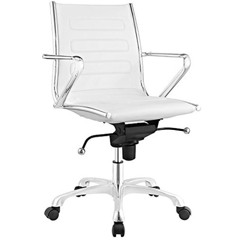 Modway Ascend Faux Leather Adjustable Swivel Office Chair in White
