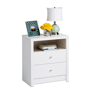 Prepac Calla Tall 2 Drawer Nightstand, White