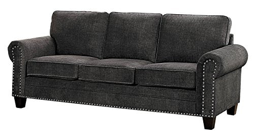 "Homelegance Cornelia 86"" Fabric Sofa, Dark Gray"