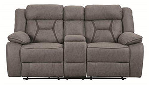Coaster Home Furnishings Houston Motion Loveseat with Cupholder Storage Console Grey Furniture Piece, Finish