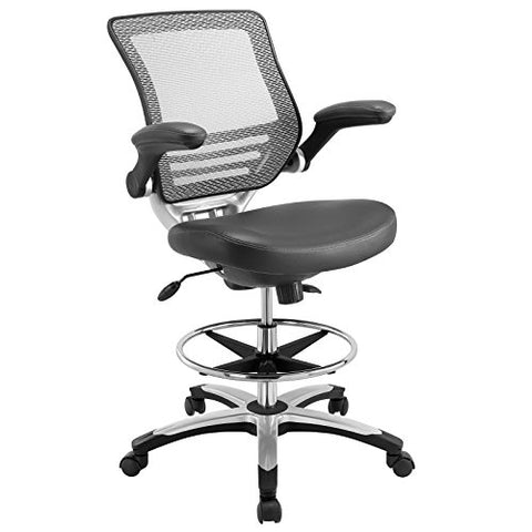 Modway Edge Drafting Chair In Gray - Reception Desk Chair - Tall Office Chair For Adjustable Standing Desks - Flip-Up Arm Drafting Table Chair