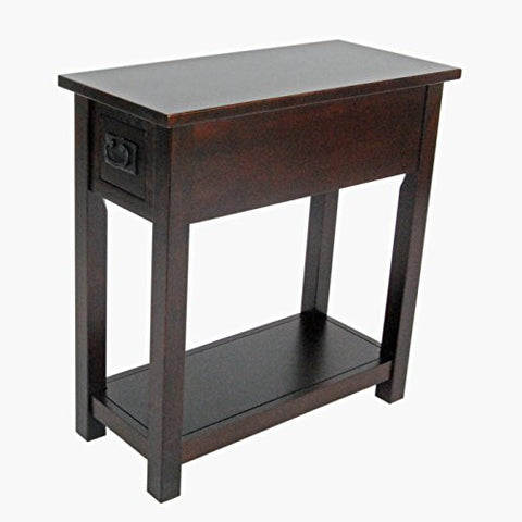 Mission Chair Side End Table with 1 Drawer and Open Shelf, Espresso